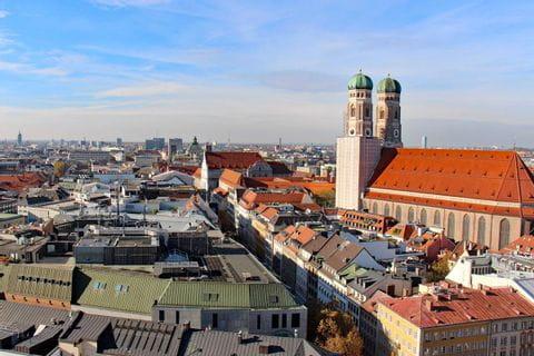 View over the church Frauenkirche in Munich