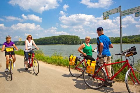 Eurobike cyclists on the rhine cycle path