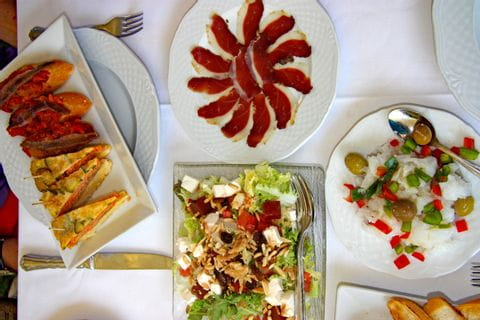 Plates with tapas